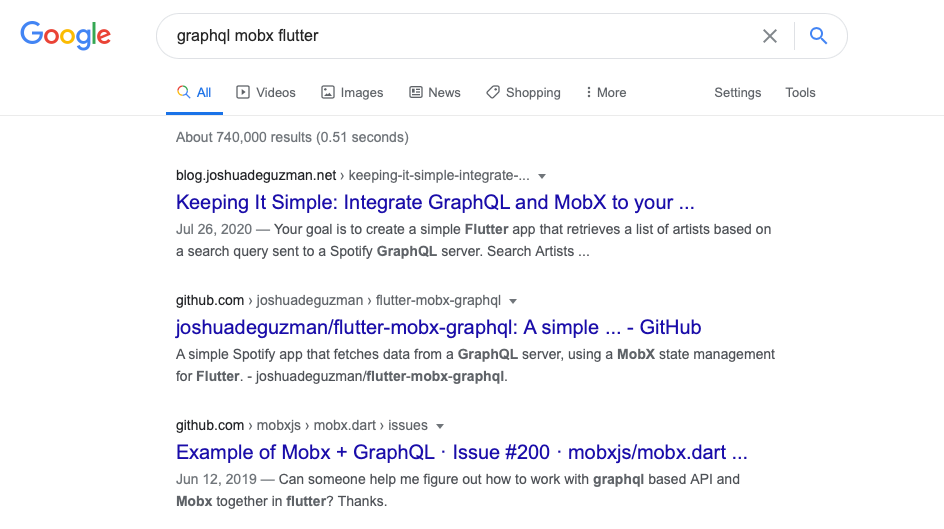 My articles were at the top results of the search keywords: graphql mobx flutter